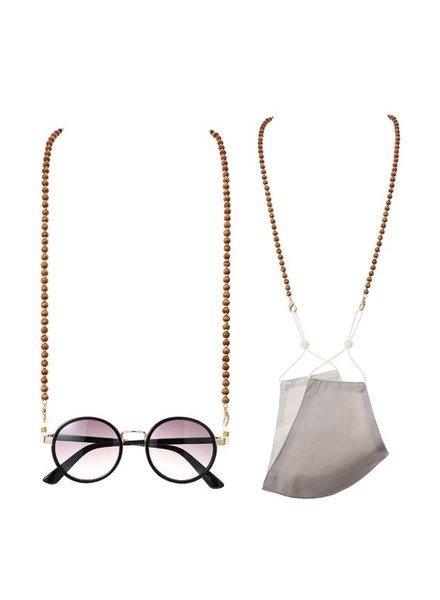 Round Wood Bead Mask/Glasses Disco Chain | Brown