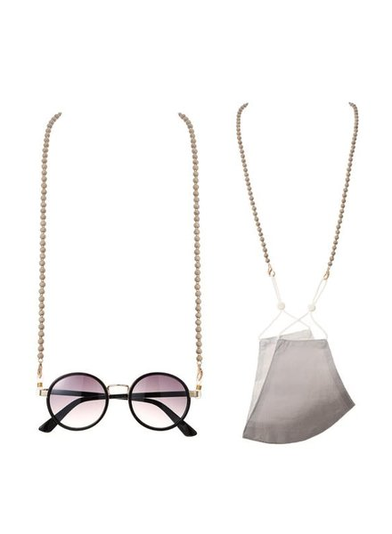 Round Wood Bead Mask/Glasses Disco Chain | Grey