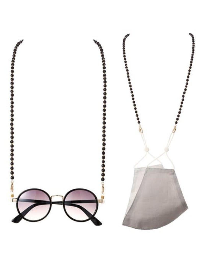 Round Wood Bead Mask/Glasses Disco Chain   Black