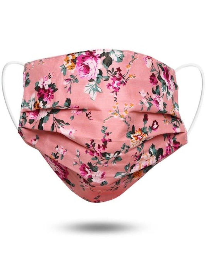Floral Print Cotton Face Mask | Pink