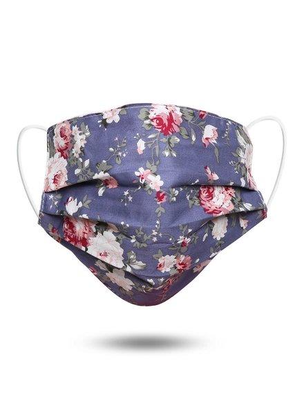 Floral Print Cotton Face Mask | Purple