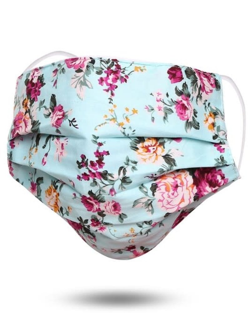 Floral Print Cotton Face Mask   Blue