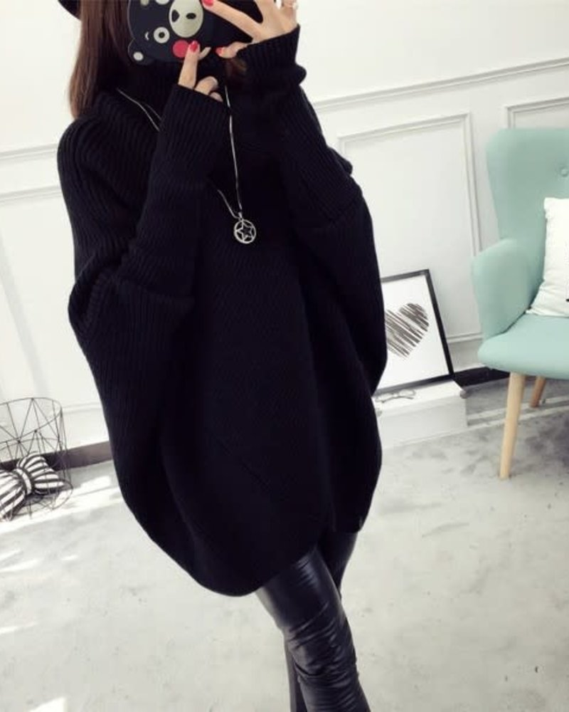 Bat Sleeve Sweater | Black