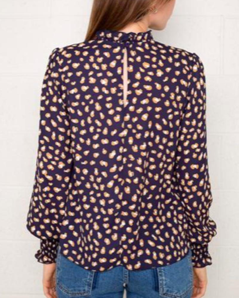 Leanne Animal Print Blouse | Navy