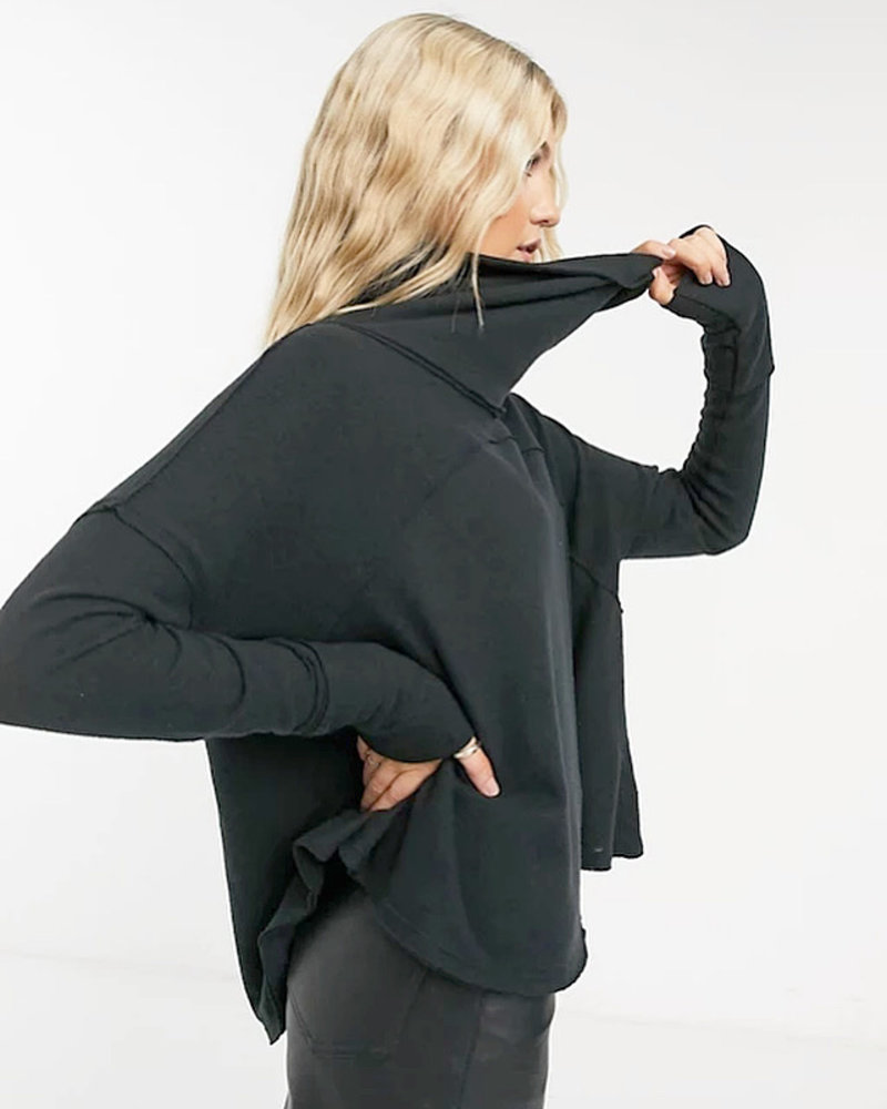 Free People Cozy Time Funnel Top   Charcoal