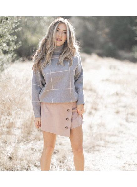 Grid Turtleneck Sweater | Grey
