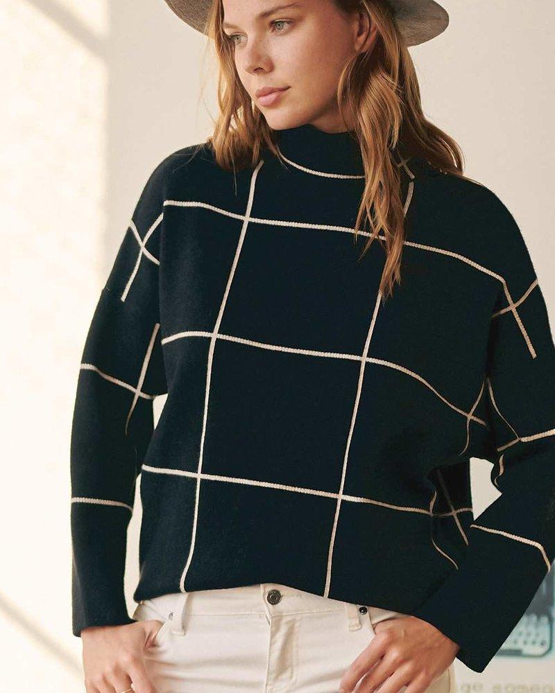 Grid Turtleneck Sweater | Black