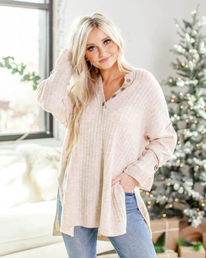 Free People Around The Clock Pullover   Oatmeal