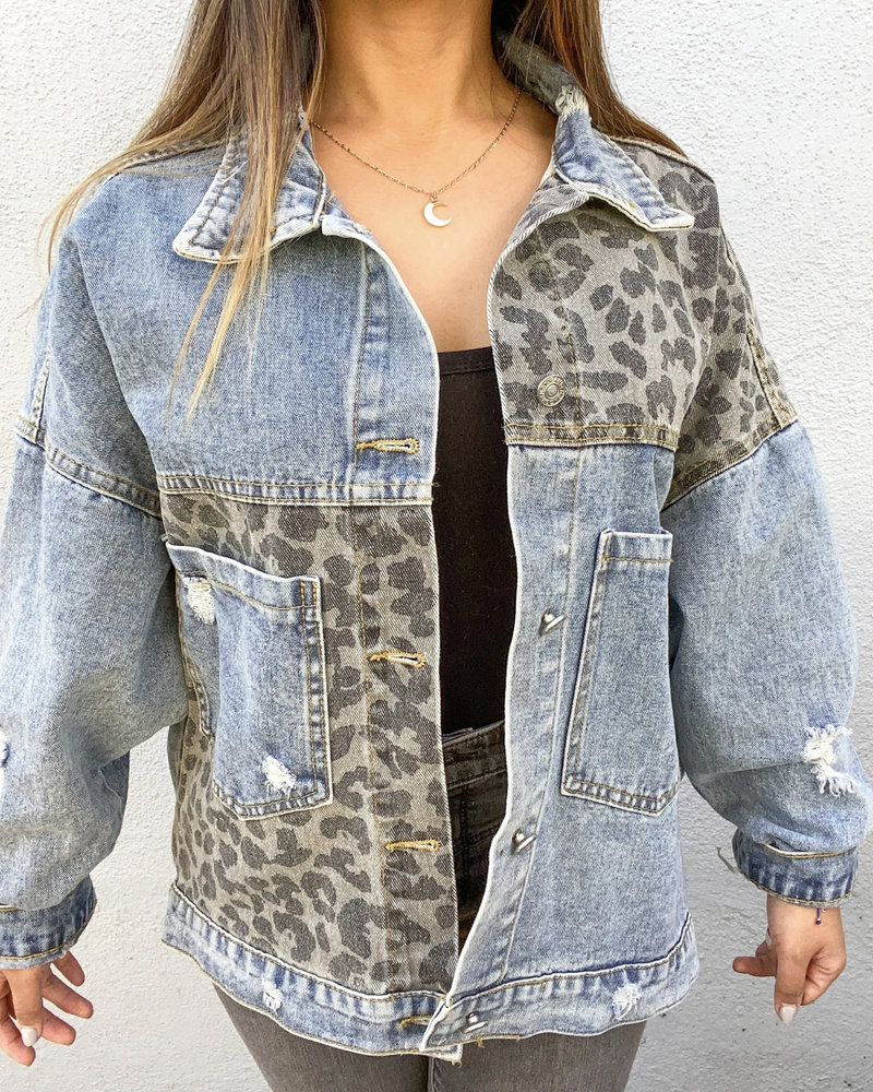 Leopard Print Patch Denim Jacket | Denim