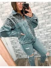 Leopard Print Patch Denim Jacket | Denim
