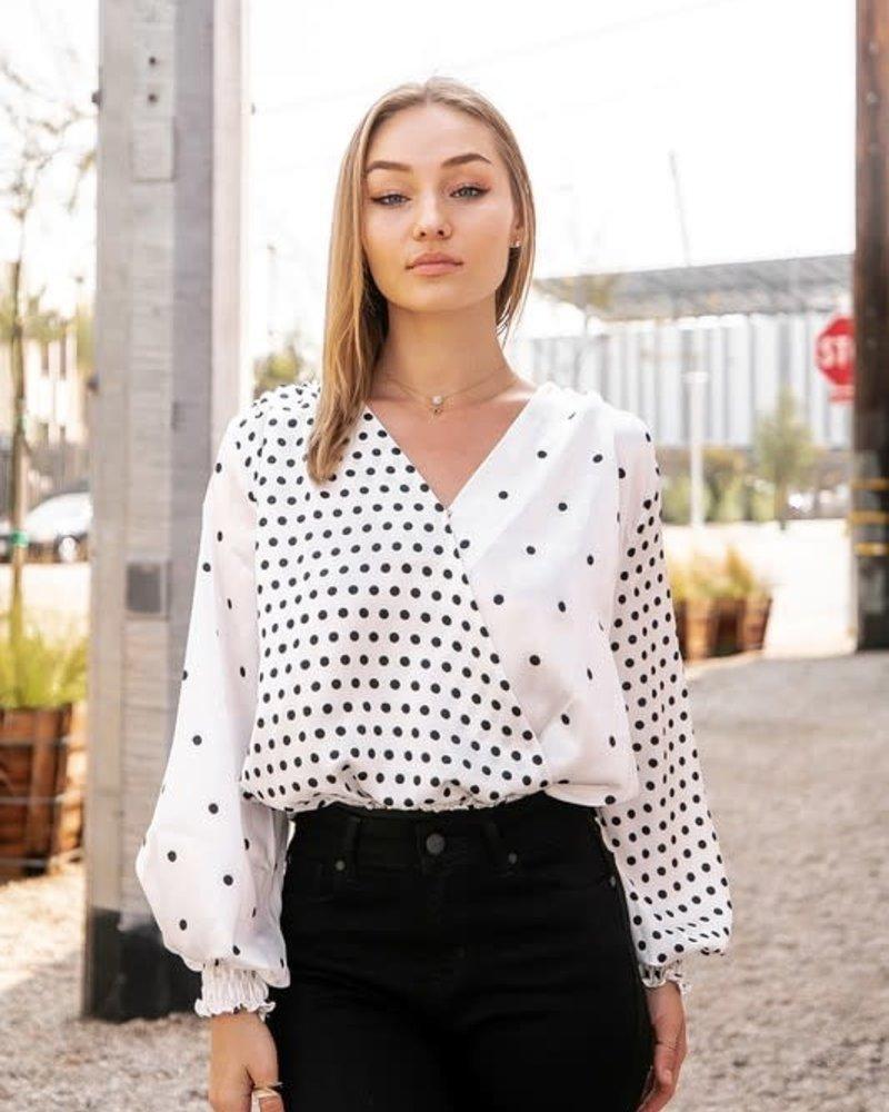 Contrast Polka-Dot Overlap Bodysuit