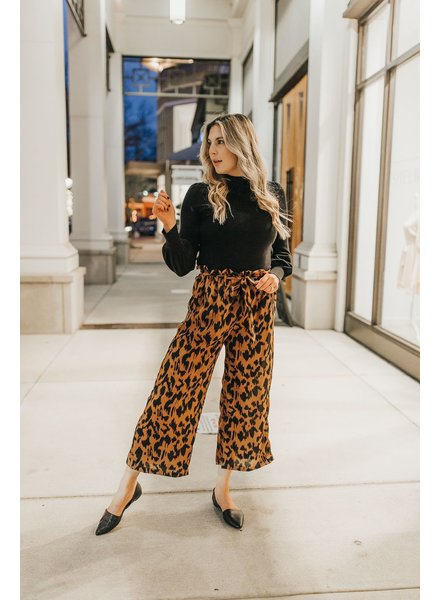 Animal Print Tie Waist Wide Leg Pants