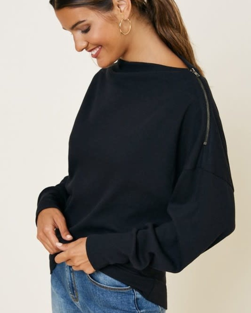 Ribbed Side-Zip Knit Top