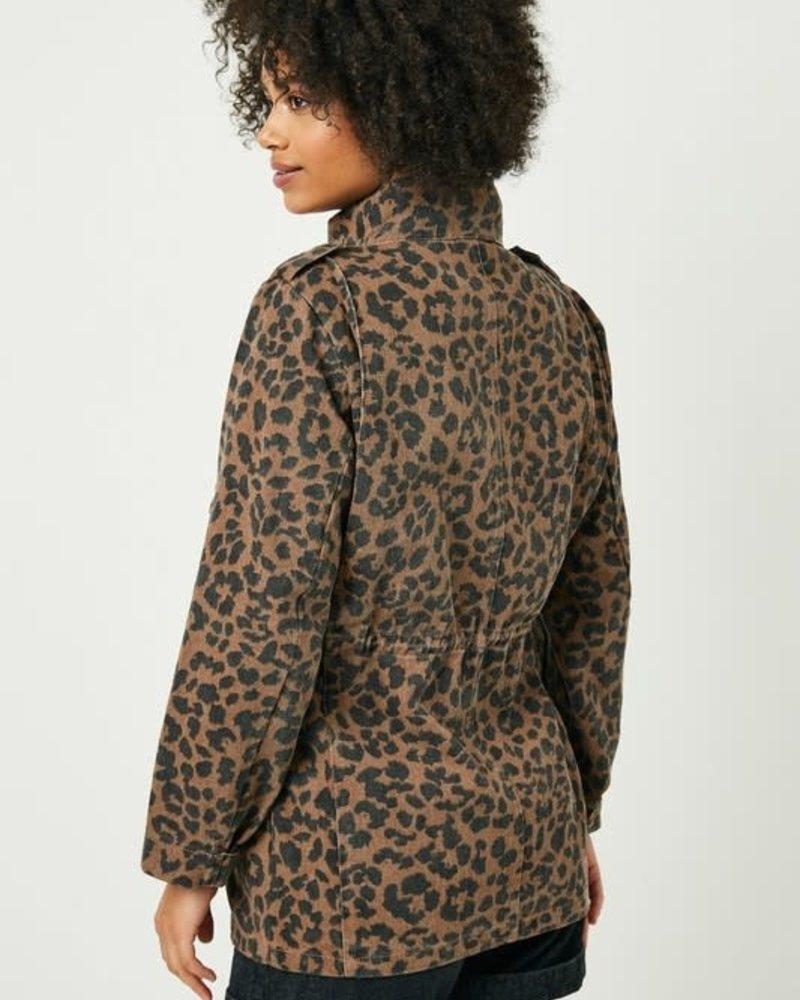 Leopard Drawstring Cargo Jacket