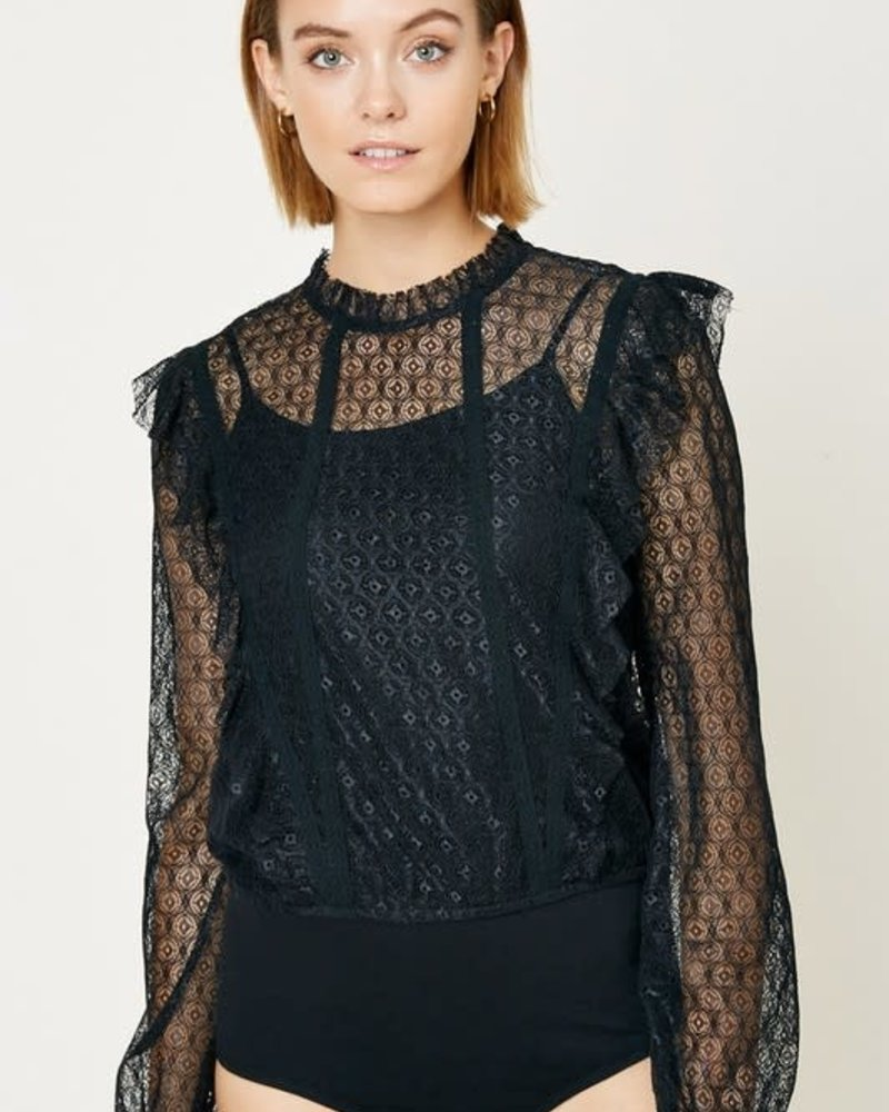 Mock-Neck Ruffle Lace Bodysuit