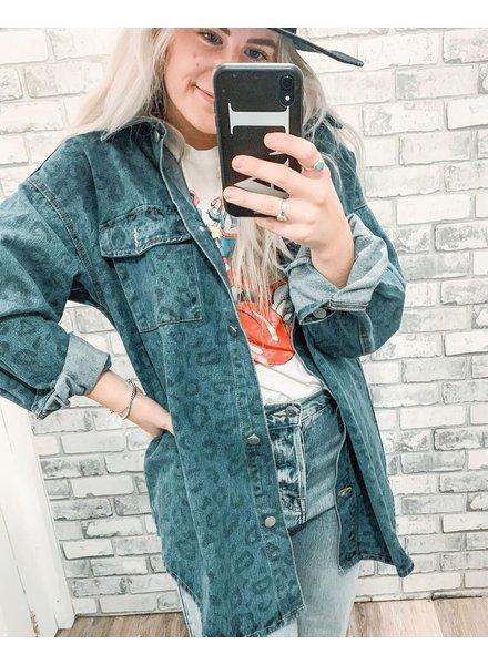 Kelly Cheeta Denim Jacket | Dark