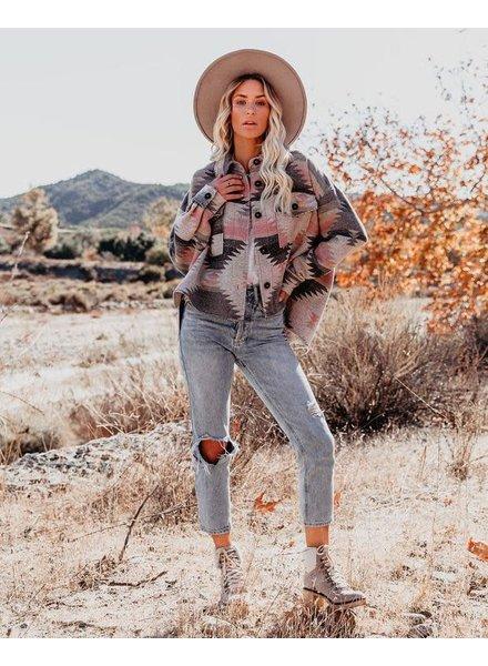 Carlie Aztec Shacket | Pink