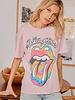 Rolling Stones Tie Dye Tongue Weekend Tee In Dusty Lilac