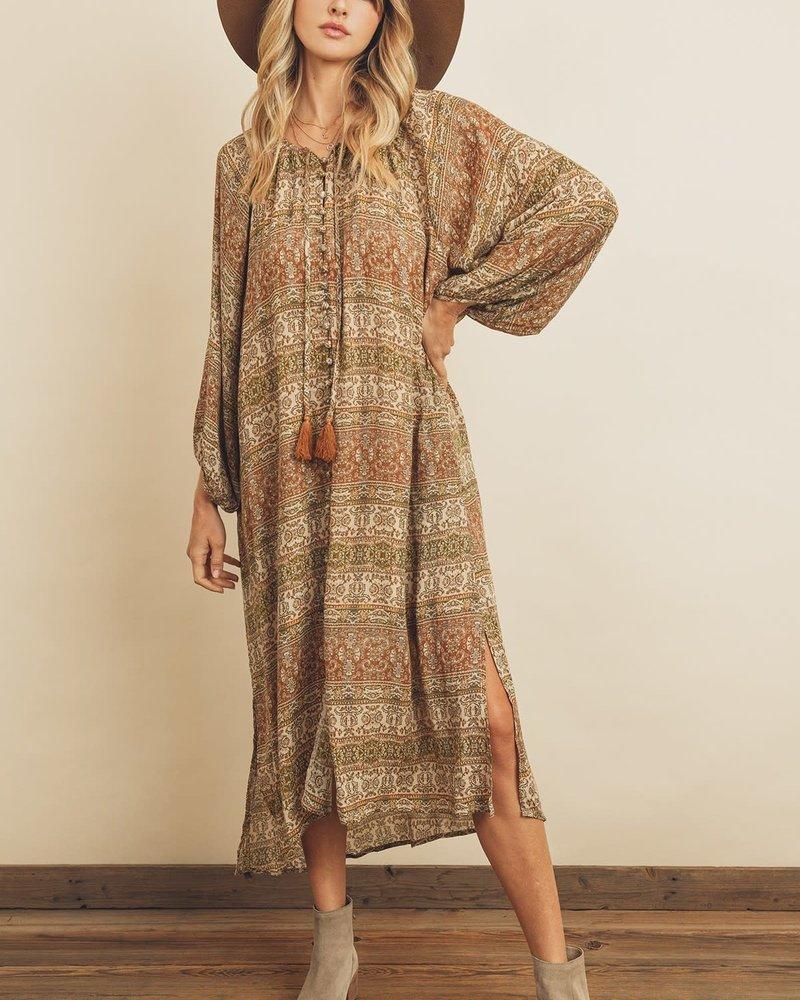 Paisley Stripe Bubble Sleeve Dress