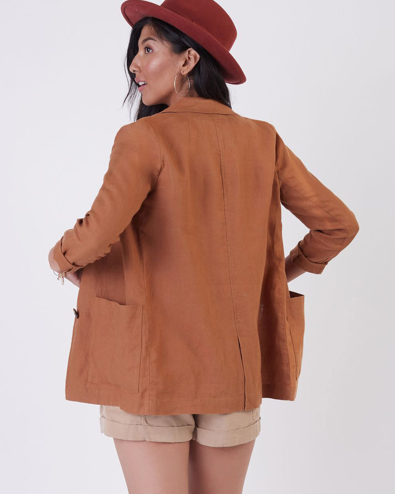 Cora Linen Blazer | Rust