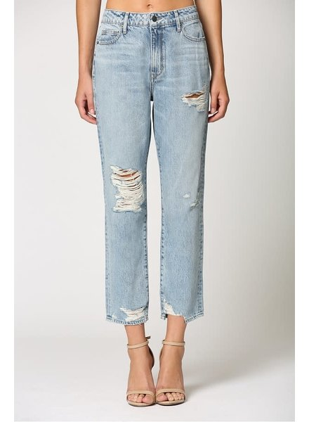 Light Wash Distressed Straight Crop