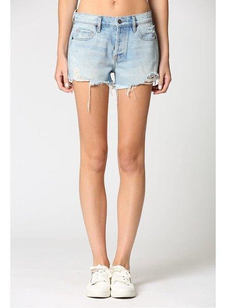 Light Wash Classic Mid Rise Frayed Shorts