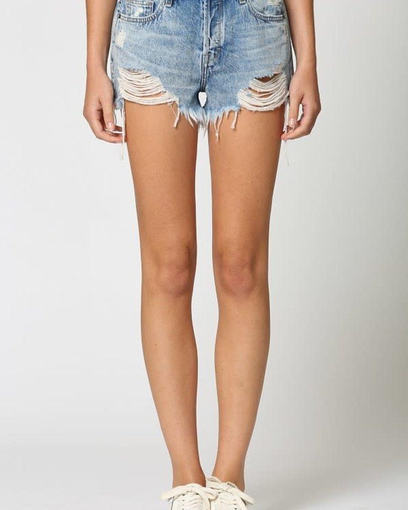 Vintage Wash Distressed Frayed Mom Shorts