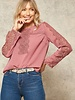 Swiss Dot Lace-Trimmed Blouse