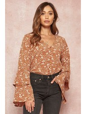 Floral Tiered Bell-Sleeve Bodysuit