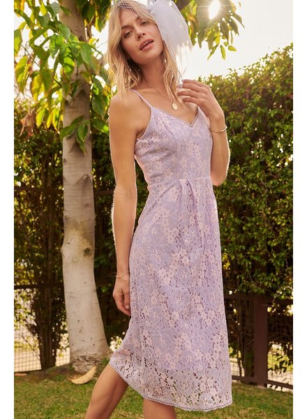 Cross Dyed Floral Lace Sweetheart Midi