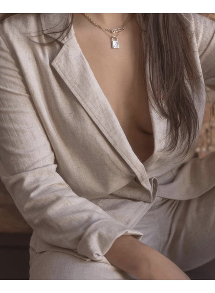 Cora Linen Blazer | Oat