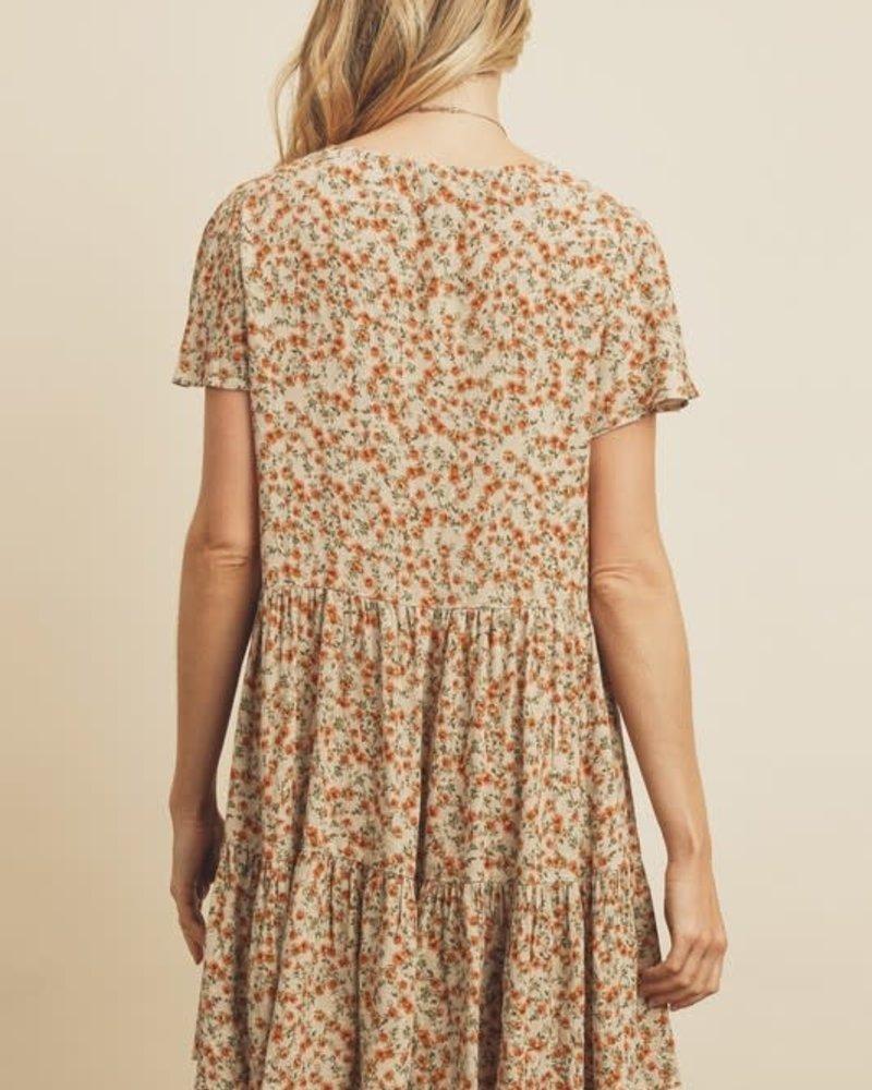 Blossom Flutter Sleeve Swing Dress