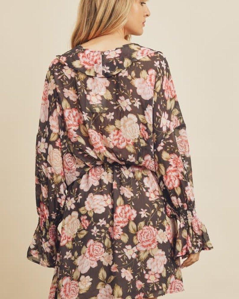 Rose V-Ruffle Mini Dress