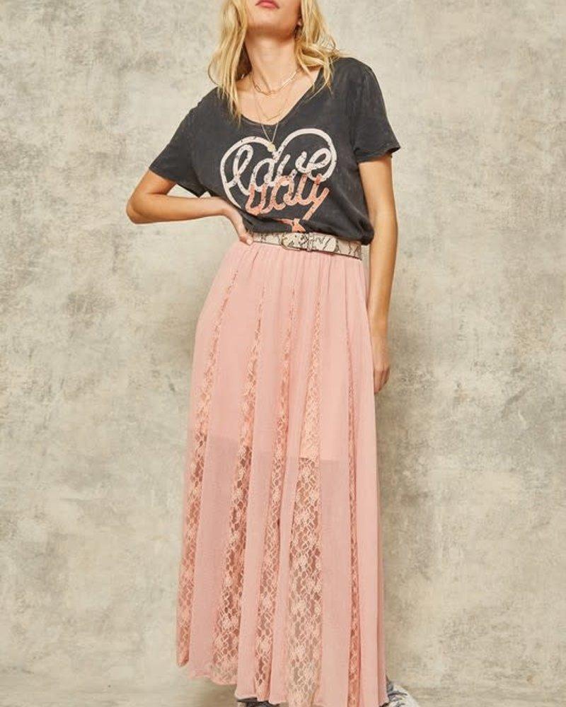 Semi-Sheer Pleated Lace Layered Maxi Skirt