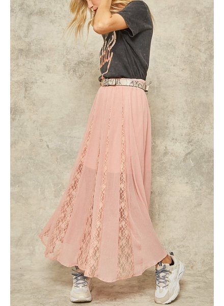 Semi-Sheer Pleated Lace Layered Maxi Skirt