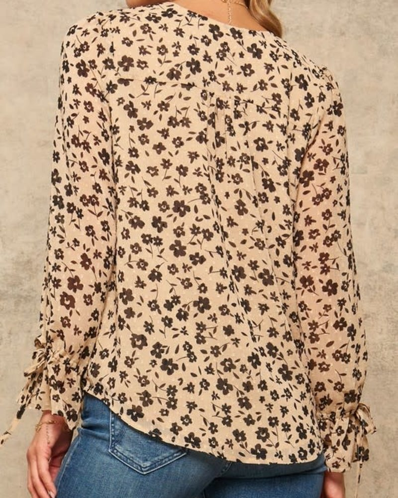 Lynn Button-Front Tied-Cuff Blouse