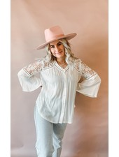 Floral Crochet Woven Top | White