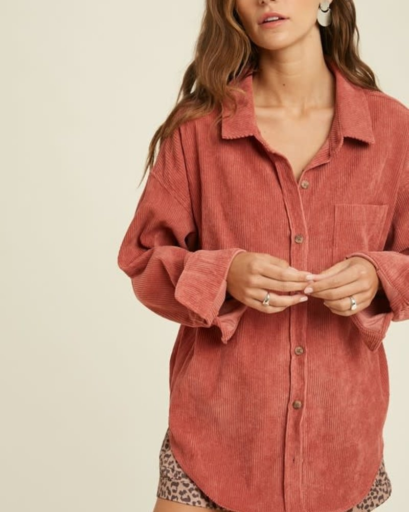 Corduroy Front Pocket Shirt | Ginger