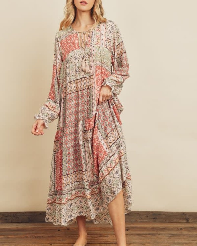 Boho Patchwork Oversized Dress