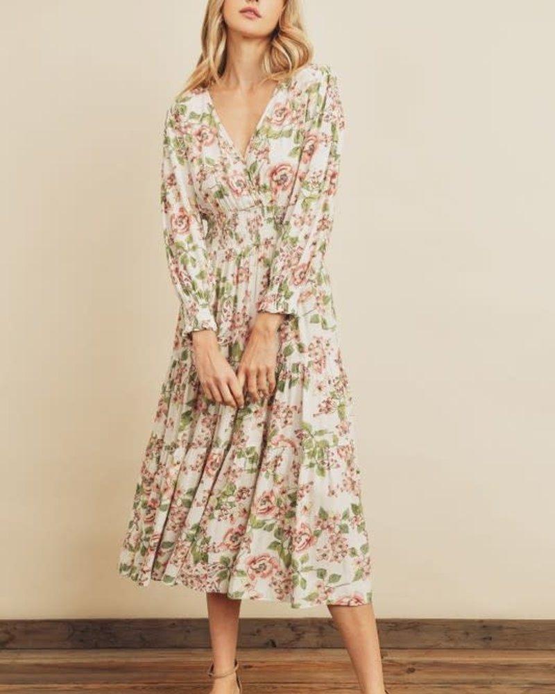 Garden Smocked Waist Tiered Dress