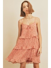 Floral Clip Dot Tiered Swing Dress