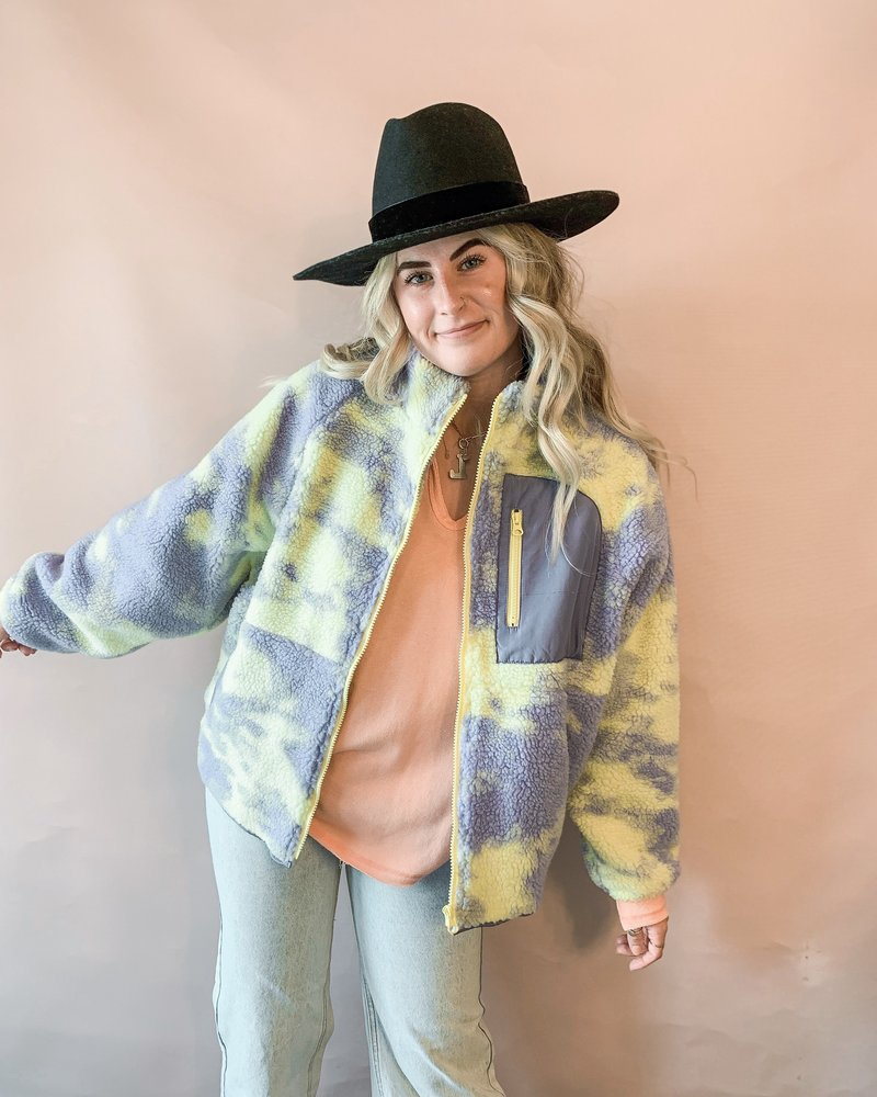 Tie-Dye Sherpa Zip-Up Jacket