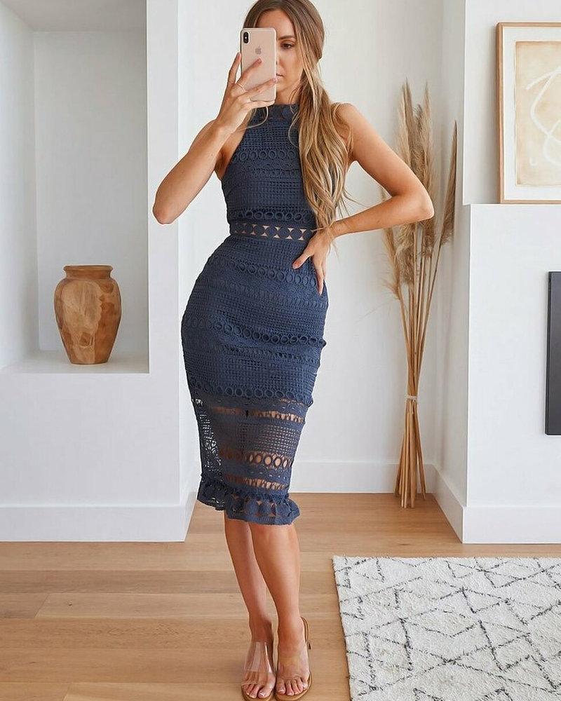 Rivers Midi Dress | Steel Blue