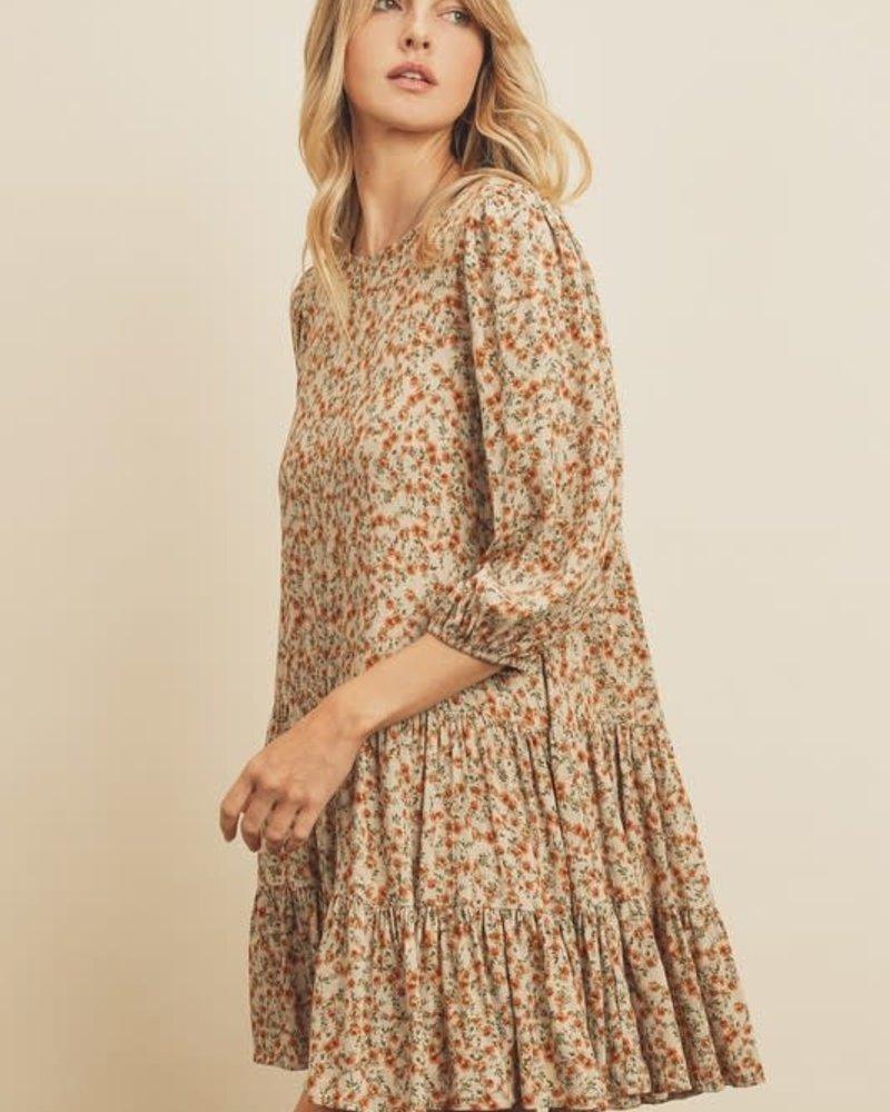 Floral Bishop Sleeve Swing Dress