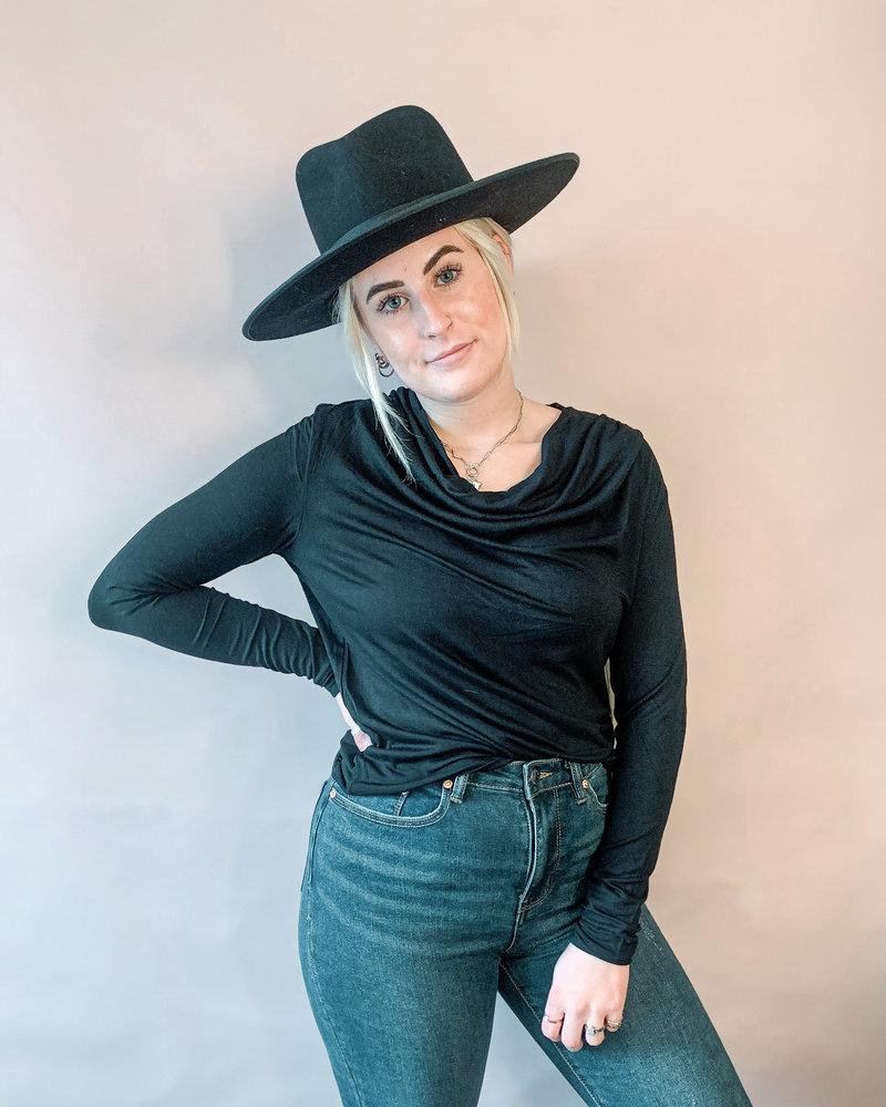 Kaylie Cowl Neck Top | Black