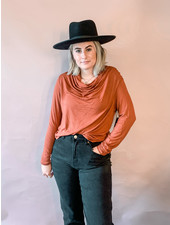 Kaylie Cowl Neck Top | Rust