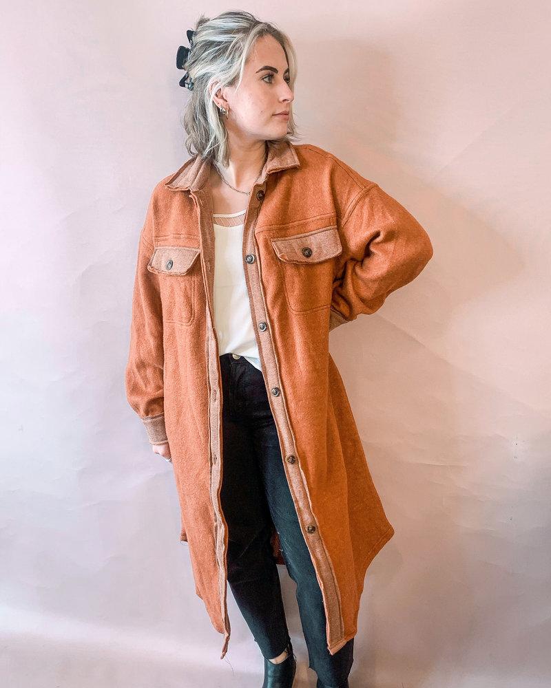 Carter Long Shacket   Rust