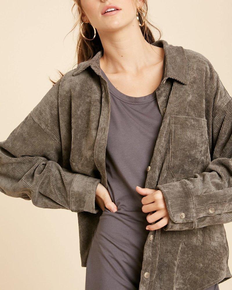 Corduroy Front Pocket Shirt | Charcoal