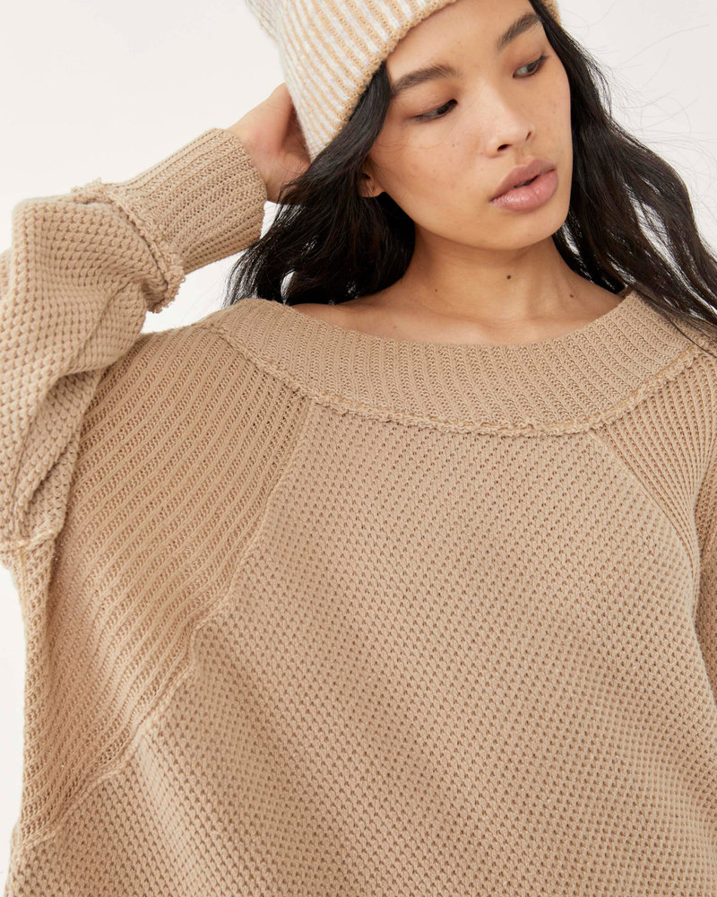 Free People She's A Keeper Sweater   Wheat
