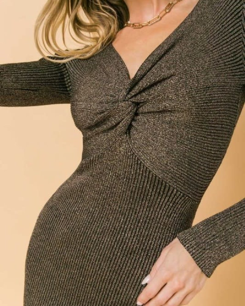 Callie Ribbed Metallic Sweater Mini